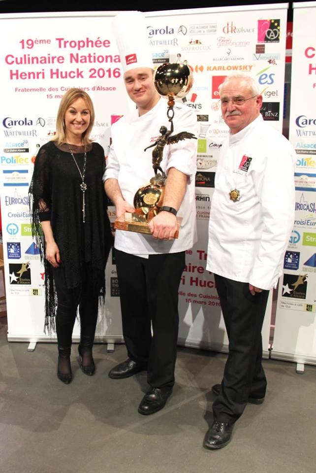 Sandrine Kauffer Matthieu Otto le vainqueur du Trophée Henri Huck 2016 et Jean-Louis Steffen