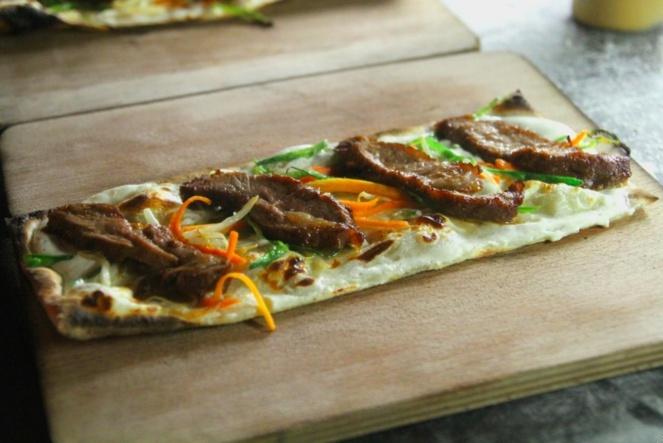 2013 Flammée : Pluma de cochon ibérique, laqué miel-soja, wok de légumes asiatiques