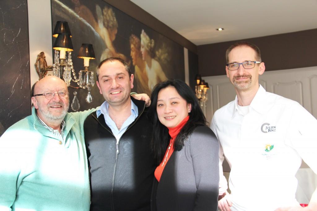 Georges-Albert Aoust, Pascal Leonetti, Hélène Yuan Yuan, Julien Binz au restaurant JULIEN BINZ à Ammerschwihr ©SandrineKauffer