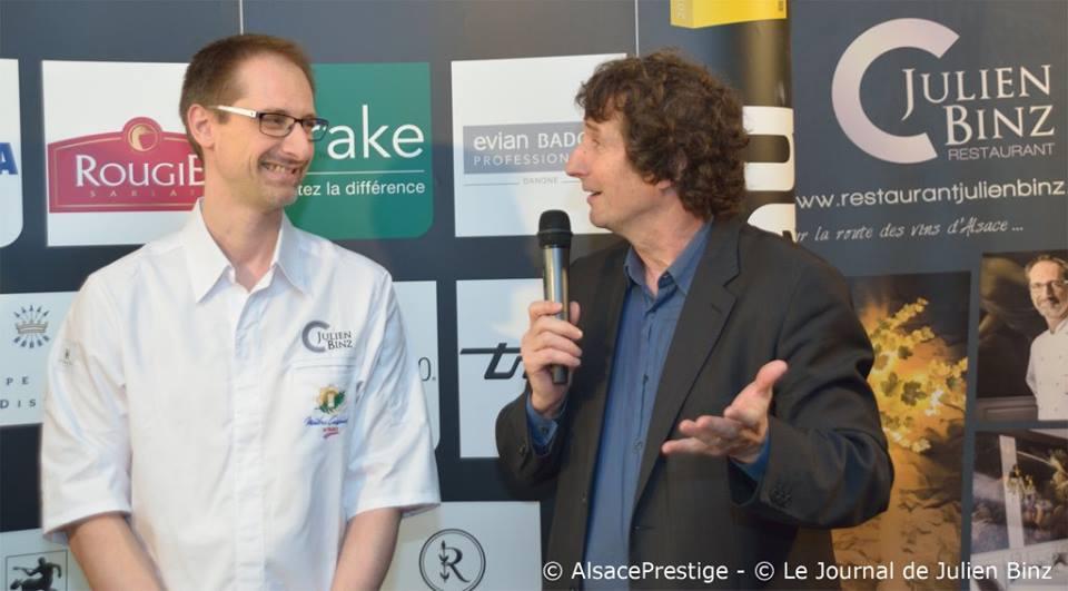 Julien Binz et Marc Esquerré au restaurant Julien Binz pour les trophées Gault Millau Grand Est 2016