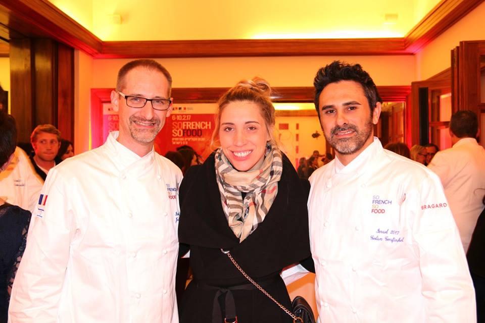 Julien Binz avec Andrea Leitersdorf, la propriétaire de DALLAL et Golan Gurfinkel le chef de cuisine de DALLAL