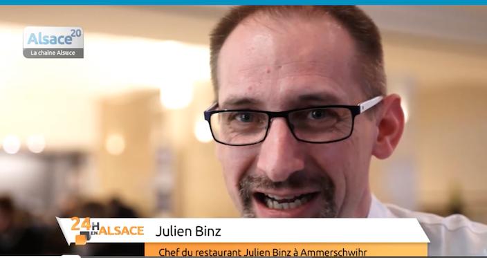 Julien Binz est invité sur Alsace 20 pour son étoile Michelin