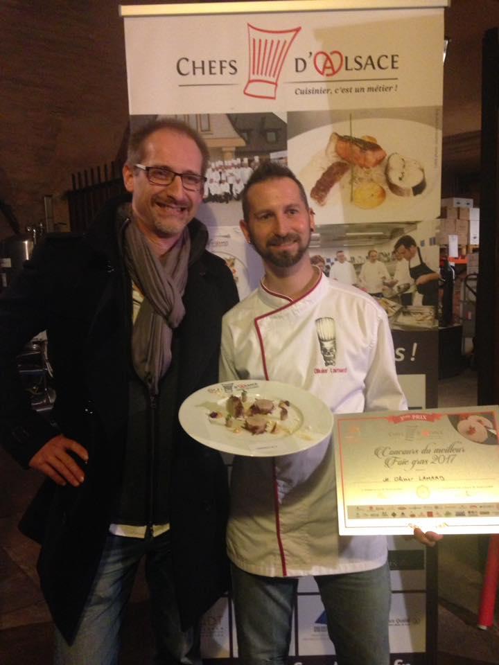 Olivier Lamard s'est classé 3ème au concours du Meilleurs Foie gras d'Alsace avec la recette du FOIE GRAS DE CANARD CONFIT FUMÉ,Gelée et chutney de coing